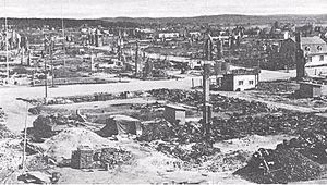 Battle of Rovaniemi - Image: Rovaniemi burned
