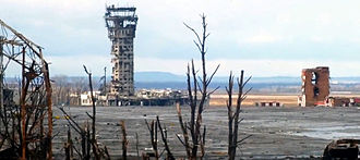 Second Battle of Donetsk Airport - Damaged control tower at Donetsk airport in late December 2014. It has since been destroyed.