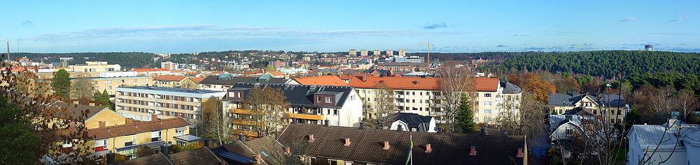 Panorama over Södertälje fra Torekællbjerget.