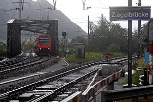 Ziegelbrücke - S-Bahn Zürich S2 line crossing the Linth channel in Ziegelbrücke