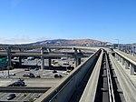 SFO AirTrain track and viaduct, July 2018.JPG