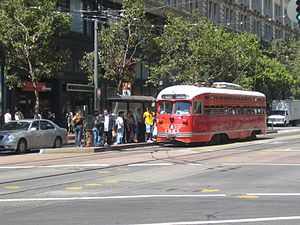 Powell Street station - Image: SF streetcar red white