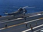 SH-3H Sea King of HS-1 landing aboard USS Nimitz (CVN-68) on 1 August 1992 (6640274).jpg