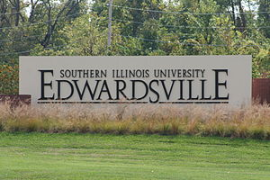 Southern Illinois University Edwardsville - SIUE sign at the entrance to the main campus.