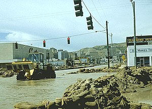 City Creek (Utah) - View of State Street looking north upstream during the 1983 City Creek flood