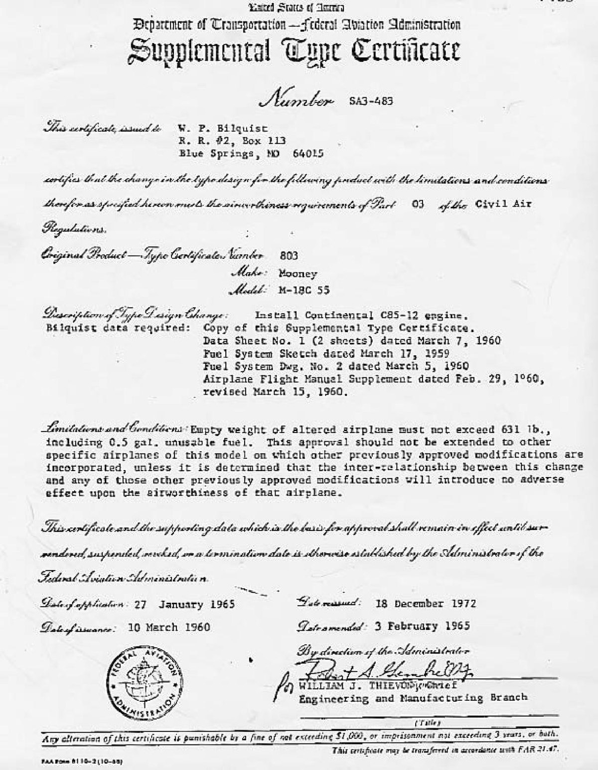 Supplemental type certificate - Wikipedia