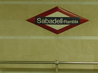 Barcelona–Vallès Line - Current FGC plate at the Sabadell-Rambla station. This station will be replaced with the construction of further stations in the town.