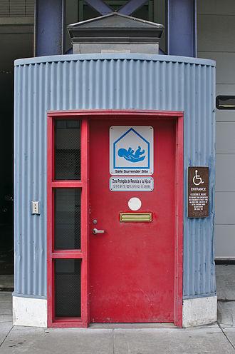 Safe-haven law - Sign at San Francisco Fire Station 14 designating it as a Safe Surrender Site.