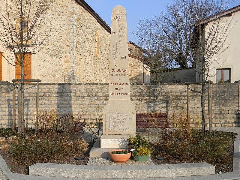 Monument aux morts de Saint-Jean-de-Thurigneux.