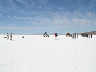 Tourism in Bolivia - View of huge Salar de Uyuni, the world's largest salt lake