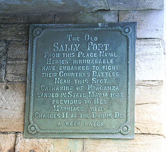 Catherine of Braganza - A plaque at Sally Port in the Garrison walls at Portsmouth commemorates Catherine's first setting foot on English soil.