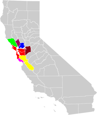 San Francisco–Oakland–Hayward, CA Metropolitan Statistical Area - The component Metropolitan Statistical Areas and their geographical location within the San Jose–San Francisco–Oakland, CSA. The San Francisco–Oakland–Hayward, CA MSA is in red.