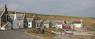 Sandend - Old fishers' cottages in Sandend, built with the gables facing seawards