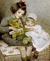 Sarah McGregor Combing Teddy 1918.jpg