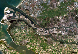 A satellite image of Rotterdam and its port