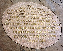A plaque commemorates the site of Savonarola's execution in the Piazza della Signoria, Florence.