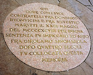 Plaque commemorating the spot where Girolamo S...