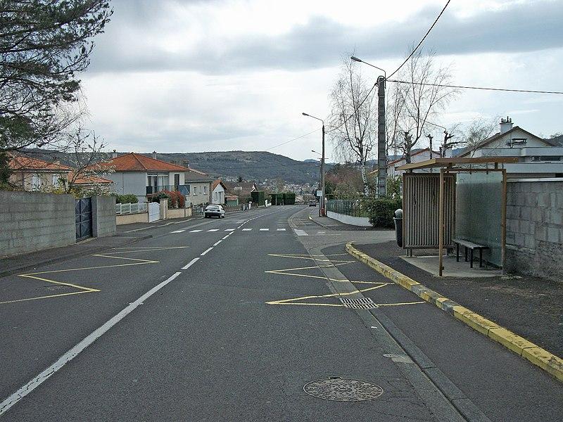 Bus stop Sayat Bel Air in Sayat, Auvergne, France. (Departmental road 15 towards town centre; elevation: 488m/1,601ft)