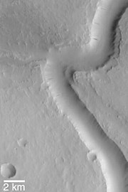 Scamander Vallis from Mars Global Surveyor