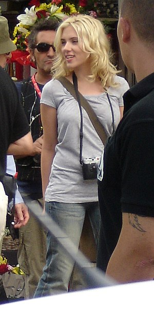 Johansson at the film set of Vicky Cristina Ba...