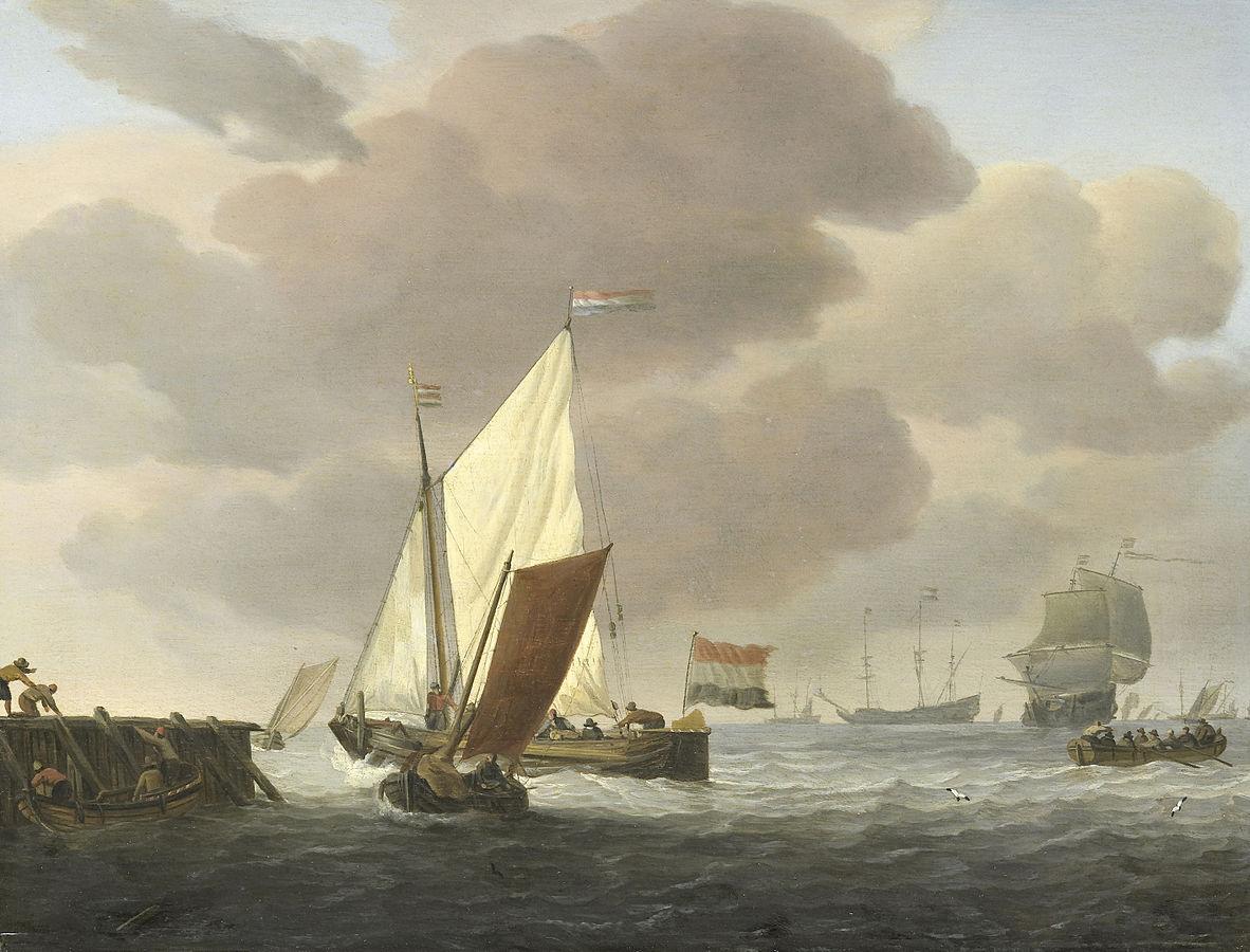 Ships near the shore in a stiff breeze