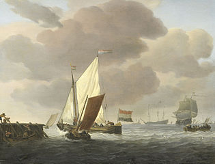 Ships near the shore in a stiff breeze
