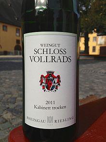 schloss vollrads riesling kabinett trocken - Was Bedeutet Kabinett Beim Wein