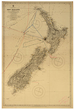 Moncrieff and Hood disappearance - Search activity for Hood and Moncrieff drawn on 1885 map of New Zealand