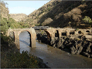 Fasilides - Sebara Dildiy (broken bridge in Amharic) was one of two stone bridges built over the Blue Nile River during Fasilides reign. Sebara Dildiy was later repaired during Emperor Menelik II's reign in 1901.