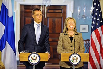 Alexander Stubb - Alexander Stubb with the Secretary of State Hillary Clinton in April 2011.