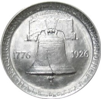 Franklin half dollar - The Sesquicentennial half dollar. Its reverse was used as the basis for the Franklin half dollar's reverse.