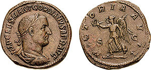 Gordian I - Gordian I on a coin, bearing the title AFR, Africanus.
