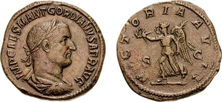 Gordian I on a coin, bearing the title AFR, Africanus. Sestertius Gordian I-s2385.jpg