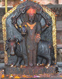 Shani dev statue at Naksaal Bhagwati Temple