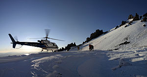 Mountain rescue - Helicopter rescue on Mount Shasta in California