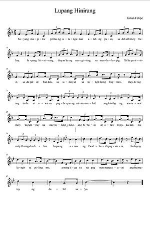 Lupang Hinirang - Music sheet of Lupang Hinirang