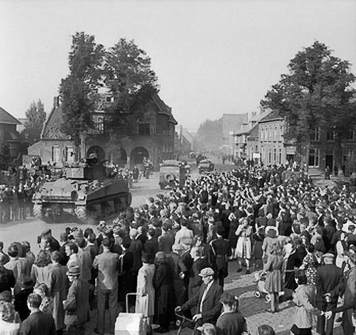 Sherman tanks advancing through Valkenswaard