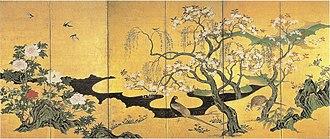 Kanō Einō - Image: Shunka kachō zu Byōbu by Kanō Einō (right panel)