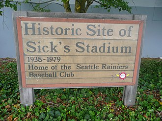 Sick's Stadium - Sign outside Lowe's store in 2009, marking the site of Sick's Stadium