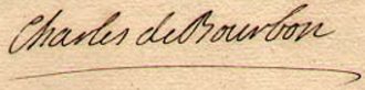 Charles, Count of Charolais - Image: Signature of Charles de Bourbon, Count of Charolais, Prince of the blood