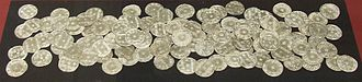 Vale of York Hoard - Silver pennies from the hoard on display in the British Museum