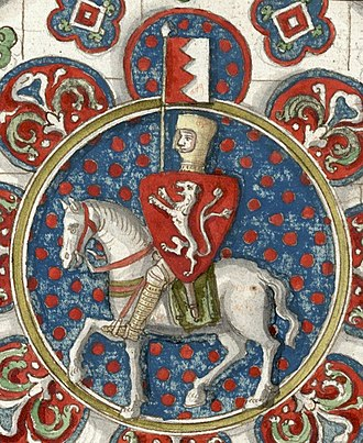 Simon de Montfort, 6th Earl of Leicester - Simon de Montfort, in a drawing of a stained glass window found at Chartres Cathedral
