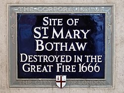 Site of st. mary bothaw destroyed in the great fire 1666