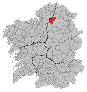 Xermade - Situation of Xermade within Galicia