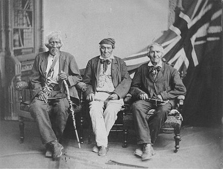 1882 studio portrait of the (then) last surviving Six Nations warriors who fought with the British in the War of 1812 Six Nations survivors of War of 1812.jpg