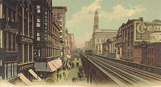 Sixth Avenue - Looking north from 14th Street in 1905, with the Sixth Avenue El on the right