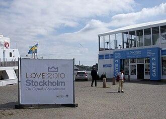 """Wedding of Victoria, Crown Princess of Sweden, and Daniel Westling - """"Love Stockholm 2010"""" sign from Skeppsbron"""