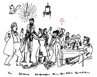 """Max Stirner - Caricature by Friedrich Engels (1820–1895) of the meetings of """"Die Freien"""""""