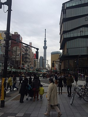 Tokyo Skytree - View of Skytree from Asakusa side in 2016