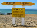 Sign at the slope point with information on distances to the equator and south pole